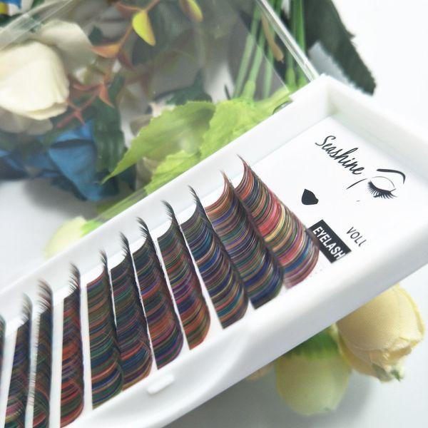 Seashine 12lines/tray Rainbow color eyelash mix colored lashes Faux mink individual eyelash extensions volume eyelashes FREE SHIPPING