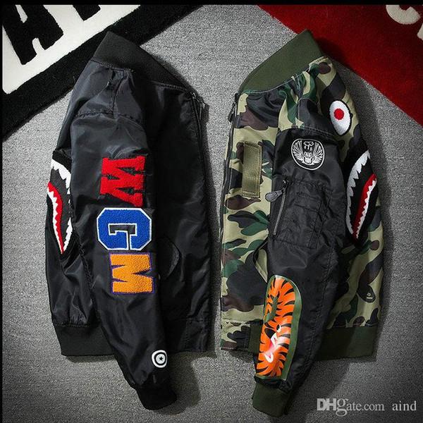 CHAUDE vendre Super MA1 Bomber requin camouflage vestes singes capuche vêtements noir capuche par air hommes parka manteaux vêtements de plein air