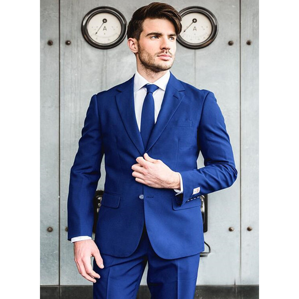 Custom Made Royal Blue Groom Tuxedos Two Buttons Notched Lapel Suit Male Business Casual Solid Color Costume (jacket+pants)
