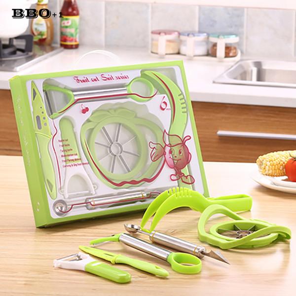 6pcs / set fruits verts en acier inoxydable sculpté Outil Slicer Peeler légumes Garniture Gadgets de cuisine Couteau Carve Outils Garnitures