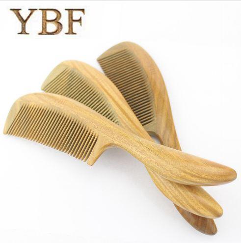 YBF Pure handmade Wedding Columns Gift Green Sandalwood Wooden Betangling Hair Combs Brush Hairbrush Craft Tarak