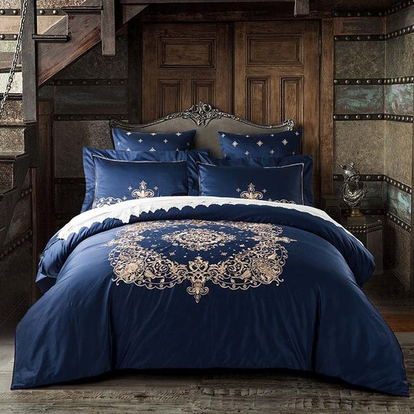 Embroidered Luxury Bedding Sets High-grade Royal 60S Egyptian Cotton Silky 4/6pcs King Queen Boho Bed Set Duvet Cover Bed sheet pillow cover
