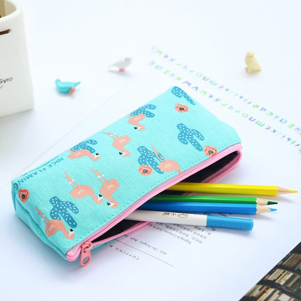 12 pcs/Lot Nice flamingo pencil case Canvas material pen bag for kids gift Stationery organizer Office school supplies F325