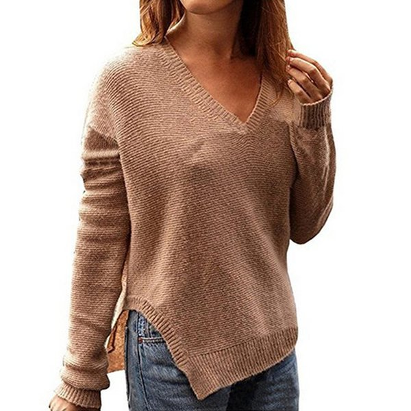 406ce3b8a0db Autumn Winter V Neck Knitted Solid Color Pullovers Women Slim Knit High  Split Hem Sweater Jumpers