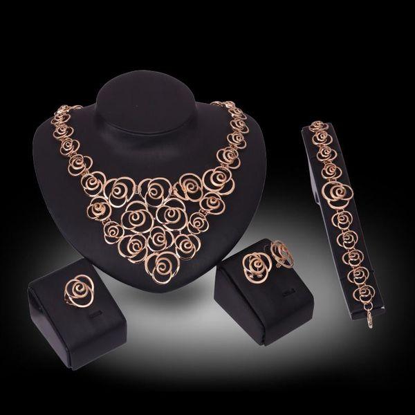 Halskette Ohrringe Armband Ring Braut Hochzeit Schmuck Set Luxus Mode Frauen 18 Karat Vergoldet Legierung Blumen Partei Schmuck 4-teiliges Set