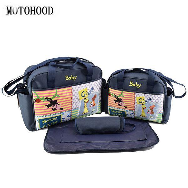 MOTOHOOD 4pcs Baby Diaper Bag Sets For Mom Cute Animal Baby Stroller Bag Organizer Fashion Maternity Bags Handbags For Moms