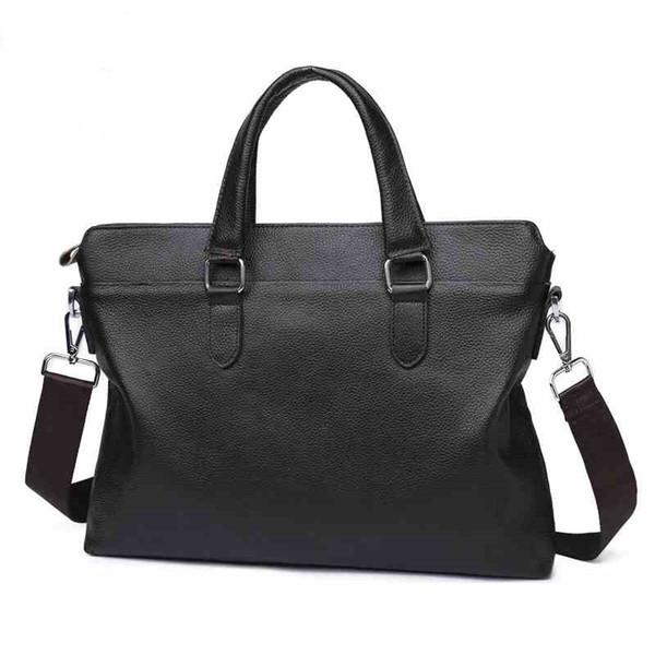Fashion Casual Business Men Briefcases Genuine Leather Bags Men Fashion Handbag Totes Shoulder Trendy Solid Simple Bag New