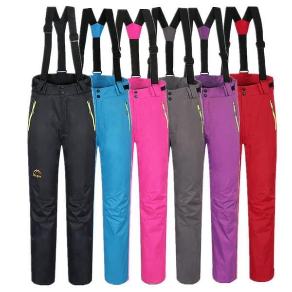 6 ألوان المرأة الرياضة في الهواء الطلق التزلج على الجليد السراويل مريلة على الجليد السراويل انفصال الحمالات الملابس الصلبة الجليد السراويل
