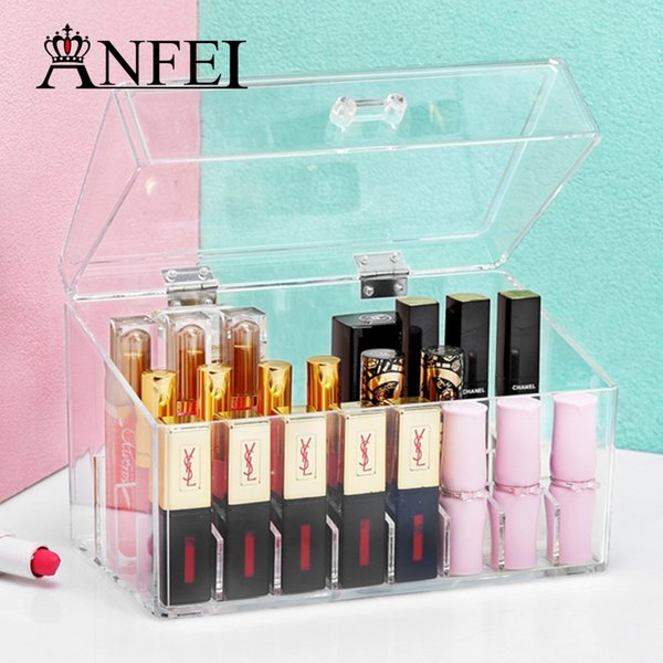 ANFEI Large Dusty Lip Glaze Storage Box 24 Grids Transparent Acrylic Makeup Case Lipstick Lip Gloss With Lid Finishing Box C211