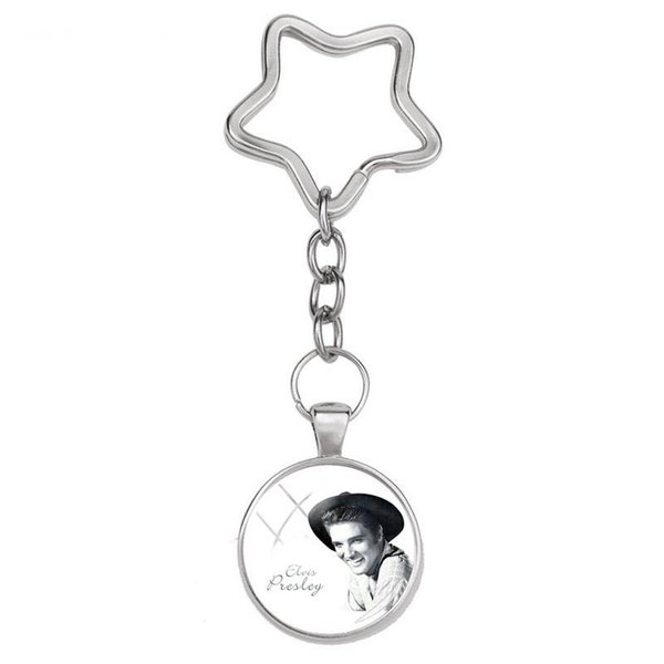 2019 New Remember Elvis Presley Keyrings Rock Star Star Keychain Silver Handmade Jewelry Art Glass Photo Print Keyring