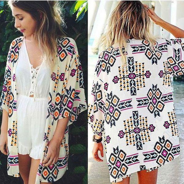 Women Summer Beach Wear Casual Tops Fashion Print Bikini Cover Vestidos 735738