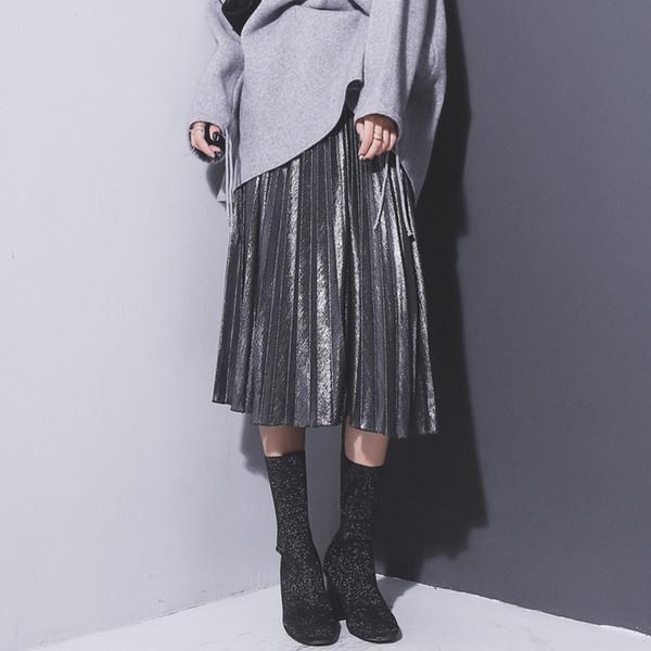 b4bff490103c Großhandel Frauen Metallic Silber Rock Midirock Hohe Taille Metallic  Faltenrock Party Clubwear Für Damen Von Adidasstore, $33.17 Auf  De.Dhgate.Com | ...