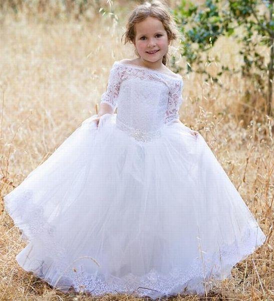 Kids Flower Girl Dress Off Shoulder Lace Girls Dress White Wedding Baptism First Communion Pattern Baby Toddler Dress xk64
