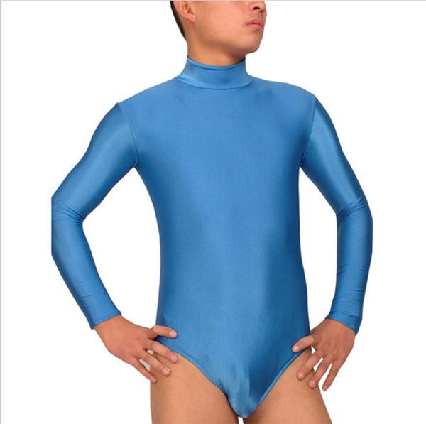 Adult Lycra Spandex High Neck Leotards Long Sleeve Gymnastics Leotard Turtleneck Mens Dance Leotard Short Unitard For Boys