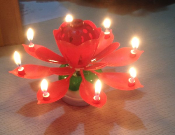 New Colorful Petals Music Candle Birthday Party Lotus Sparkling Flower Candles Flowering double-layer rotating music candle