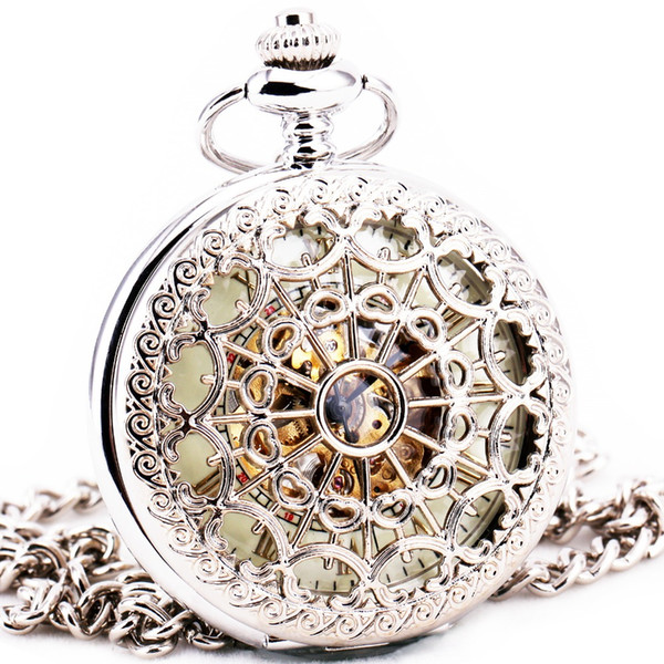Delicate Silver Stainless-steel Unisex Baroque Women Automatic Mechanical Pocket Watch Hollowed Lid Chain Luxury Fob Watches