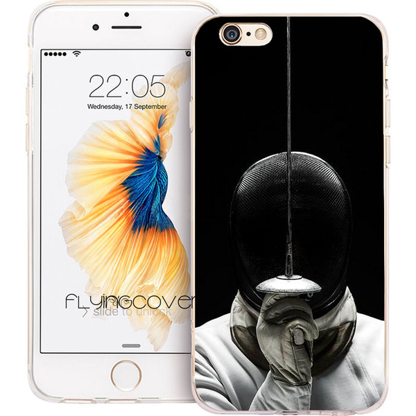 Coque Fencing Foil Sport Clear Soft TPU Silicone Cases for iPhone 10 X 7 8 Plus 5S 5 SE 6 6S Plus 5C 4S 4 iPod Touch 6 5 Cover.