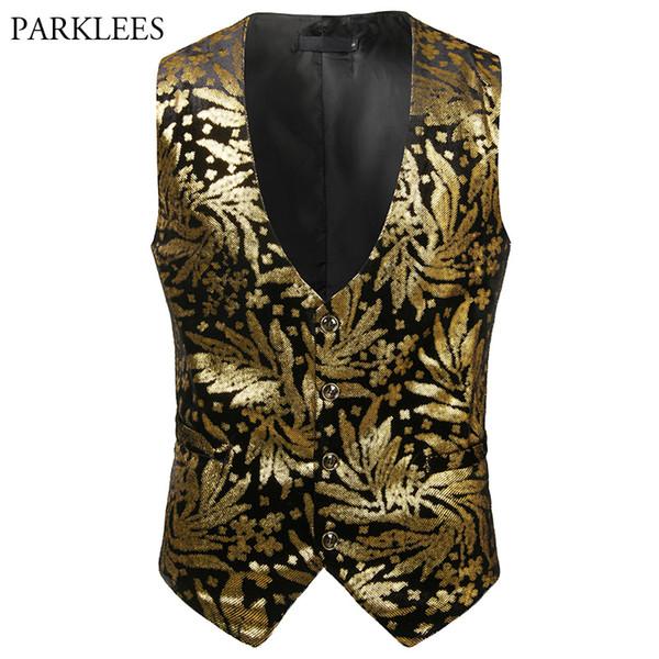 Shiny Gold Bronzing Vest Men 2018 Autumn New Slim Fit Mens Wedding Waistcoat Nightclub Stage Costume Suit Vests for Men Gilet