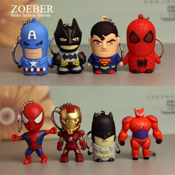 wholesale 8 Pcs a set Avengers Super Hero LED Cartoon Keychain Iron Man Batman Spiderman Sound and Light doll Key Ring Gift Kid Toy