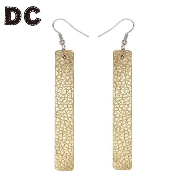 DC 2018 New Design Rectangle Dangle Drop Earrings Female Red Gold Color Leather Fringes Earrings for Women Girls Party Jewelry