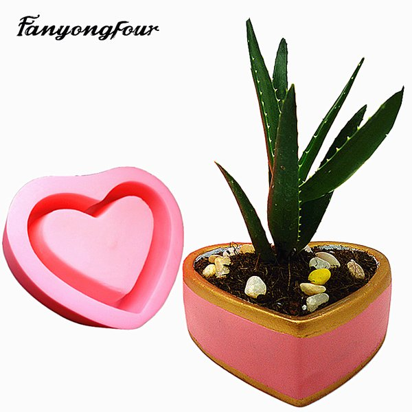 3D Love Flower Pot Cement mold Silicone Mold Chocolate Gypsum Candle Soap Candy Mold Kitchen Baking Free Shipping