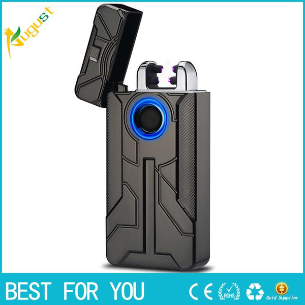 New Iron Man Design Fingerprint Touch Switch USB Rechargeable Pulsed Arc Lighter Electric Plasma Cigarette Lighter Cigar
