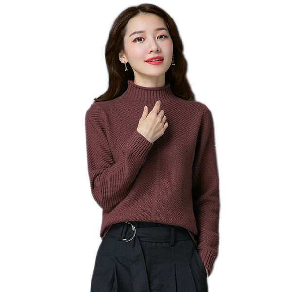 Autumn women sweater 2018 new short high collar knitting female sweater loose thickening outside take ladies tops cw428