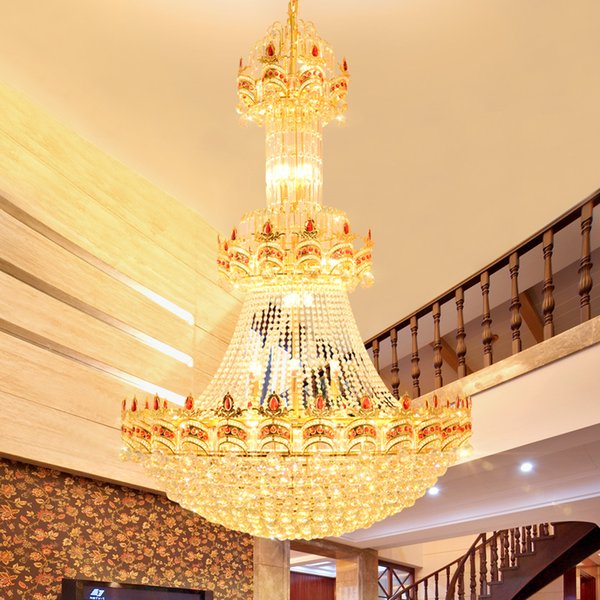 Modern Crystal Chandelier American Gold Chandeliers Lights Fixture LED Lights Villa Hotel Big Crystal Droplight 3 White Light Color Dimmable