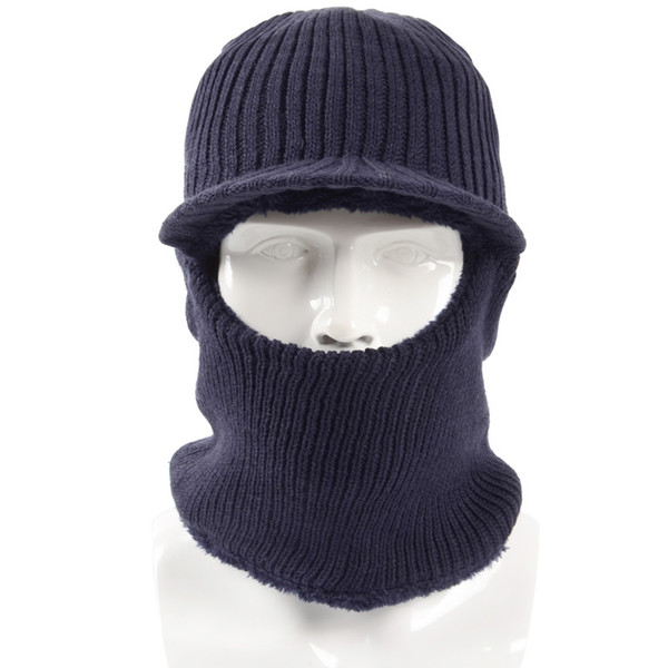2018 New Winter Plush Knitted Hooded Neck Warmer Cap for Women Men Ski Bike Wind Stopper Face Mask Thick Warm Beanie Hat Scarves