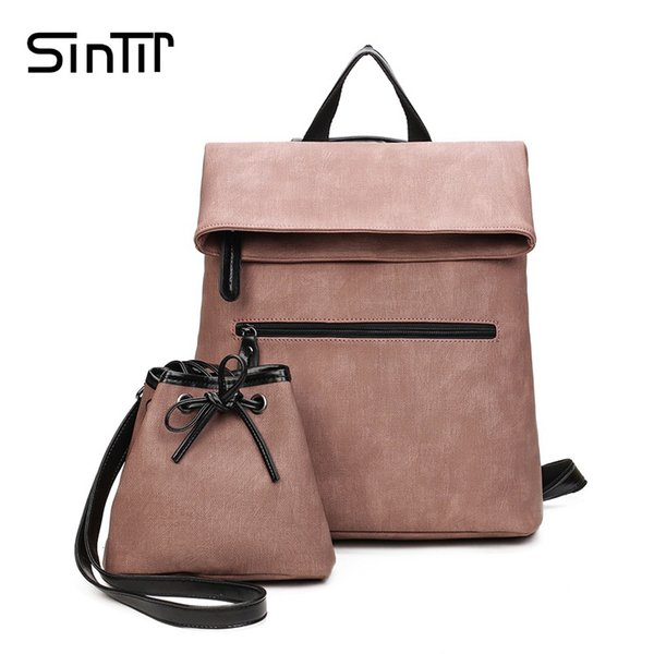 SINTIR Famous Brand 2 Set Women Backpack High Quality Vintage PU Leather Hotsale School Bags for Teenagers Black Girls Back Pack