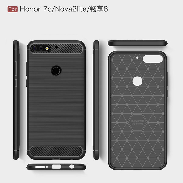 2018 New CellPhone Cases For Huawei Honor7C For Nova2Lite Luxury Carbon Fiber heavy duty case for Huawei Enjoy8 cover Free DHL Shipping