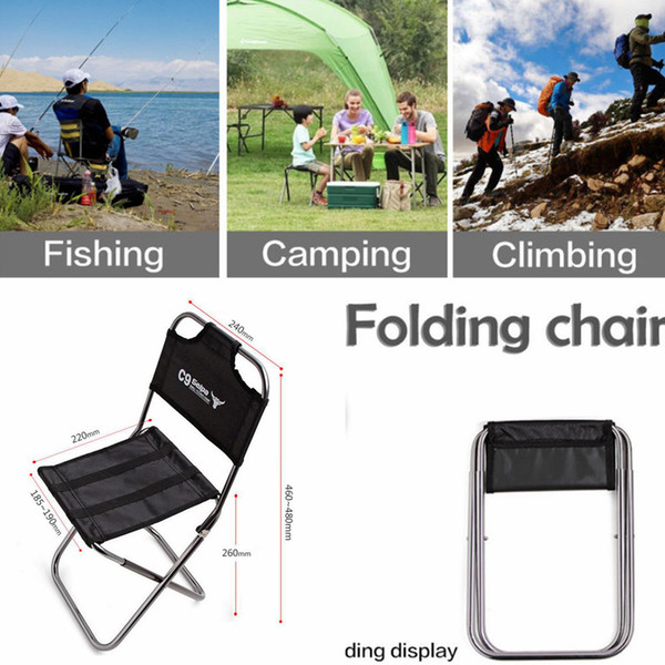 top popular Portable Aluminum Folding Chair Outdoor Fishing Seat Camping Picnic Climbing BBQ Seat fishing painting tool FFA437 5PCS 2020