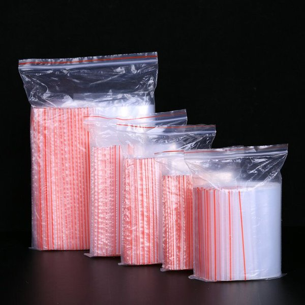 100pcs/lot Small Zip Lock Plastic Bags 0.05mm Reclosable Transparent Jewelry Food Storage Bag Kitchen Package Bag Clear Ziplock Bag