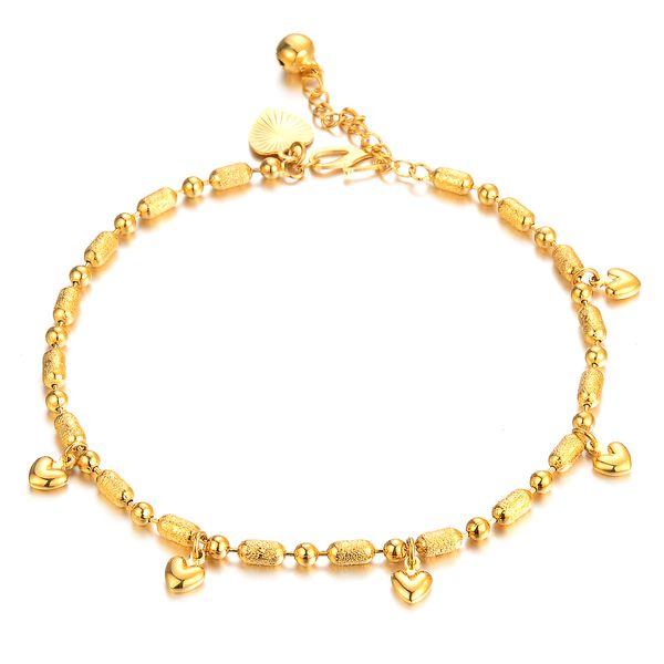 Düğün gelin retro zarif kız halhal ayak zinciri ayarlanabilir Altın renkli bayan halhal Hiçbir solmaz Tatil hediye çalışanı refah en iyi seçimdir