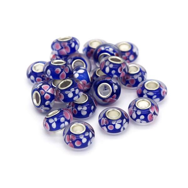 Mode Großes Loch Glas Glasur Perlen 8x14mm 20 teile / los Glasperlen Für Schmuck Machen Armband Handgemachte Schmuck Zubehör