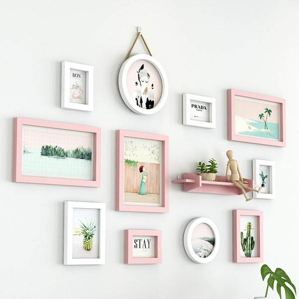Galería de pared de fotos Colección de marcos de pared, 11 Conjunto de marcos de fotos de pared y escritorio, Decoración de hogar moderna con marcos de fotos (Color: B)