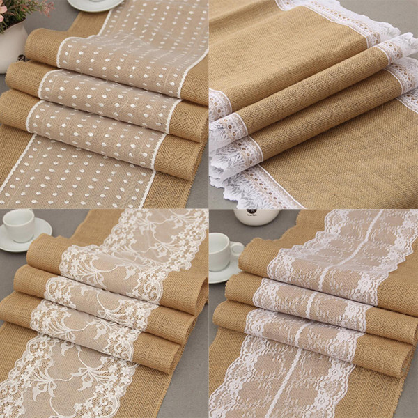 best selling Vintage Burlap Lace Table Runner Natural Jute Hessian Table Runners Party Wedding Decoration Dining Table Cloths For Kitchen Home Decor