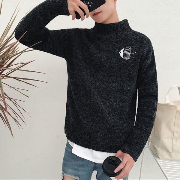 New Turtleneck Sweater Mens Black Cat And Fish Printed Men Women Lovers Winter Sweater shirt