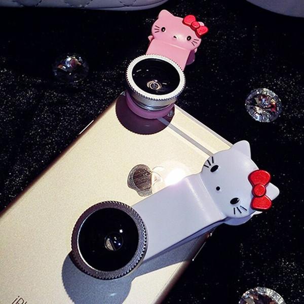 Wholesale mobile phone camera lens Fisheye lens wide-angle macro three in one Kitty lens beautifuly self artifact