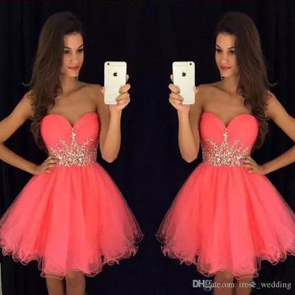 Sexy Red Sweetheart Mini Prom Dress A-Line Gold Appliques Lace Up Back Short Tulle Evening Formal Gowns Cute Knee Length Homecoming Dress