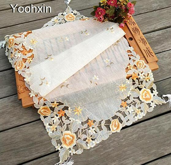 Modern lace embroidery place table mat cloth pad cup mug holder drink doilies dining coffee coaster Christmas placemat kitchen