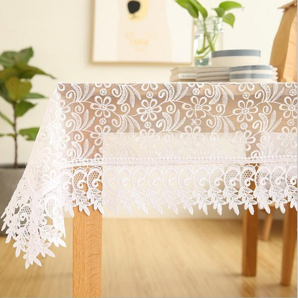 best selling elegant lace transparent tablecloth white beige party marriage dining catering table decoration rural farmhouse kitchen items