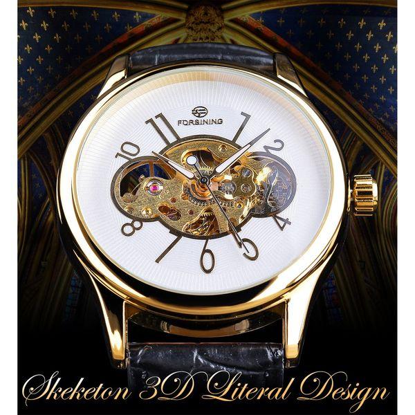 Forsining Esqueleto Branco Dourado Display Luminous Hands Relógio de Pulso Mecânico dos homens Transparente Caso Openwork relogio masculino