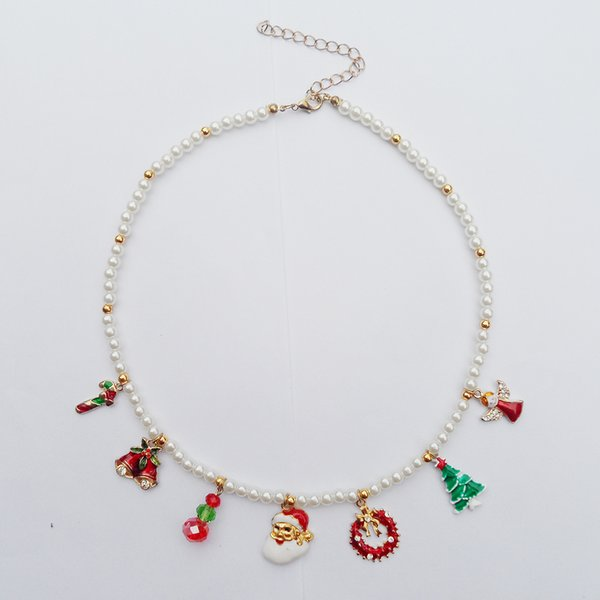 whole saleHot selling new mode Christmas necklace gife for Angel Trees wreaths Santa Claus bell elves Socks pendant factory wholesale