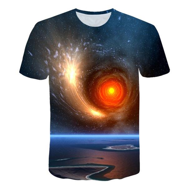 BZPOVB Purple Space Galaxy 3D T-shirt Men / Women Cotton Tshirt 3D Print Star Sky Male Summer Tees Fashion Streetwear Tops