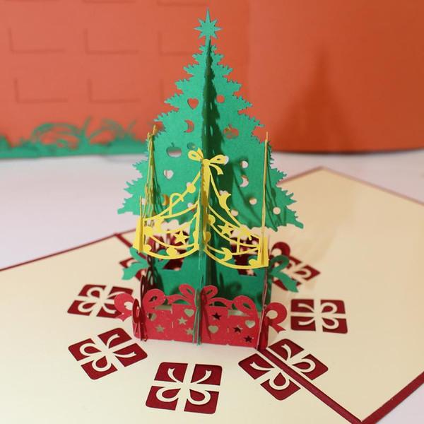 Compre Tarjetas De Invitación Calientes Del árbol De Navidad Tarjetas De Saludos 3d Tarjetas De Papel Rojas Regalo Para La Familia Amigos Eventos