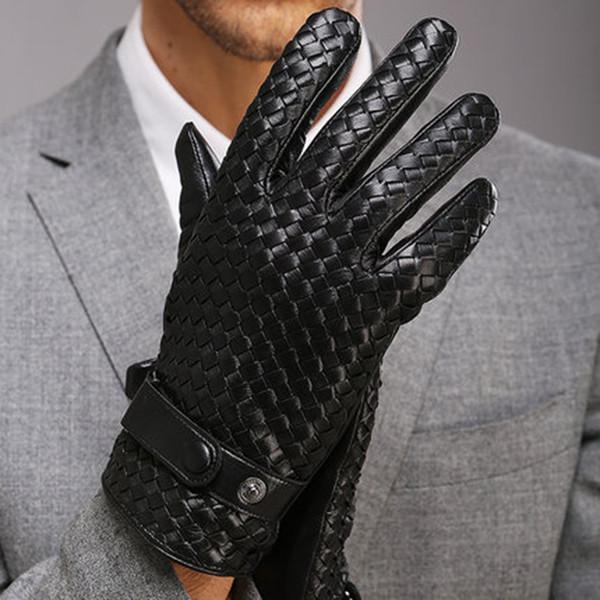 Mode Handschuhe für Männer Neue High-End Weave Echtes Leder Solid Handgelenk Schaffell Handschuh Mann Winter Wärme Fahren