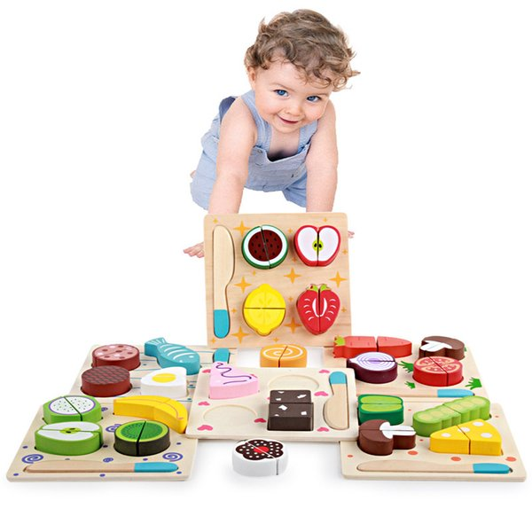 Kids Wooden Toy Kitchen Cut Fruits Vegetables Dessert Board Cooking Toys Educational Teaching Children Intelligence Toy Party Favor AAA1265