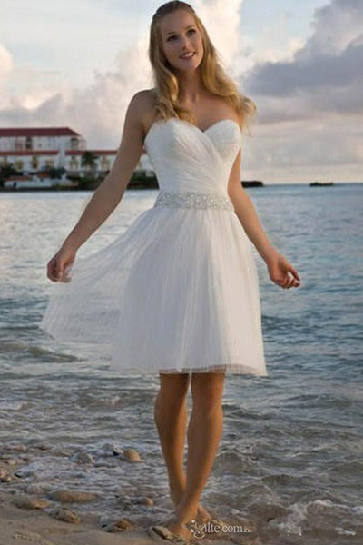 Hot Selling Beach Short Wedding Dresses Summer Style Matched Beads Sash Sweetheart A-Line Knee Length Tulle Bridal Gowns Hot Selling New W75