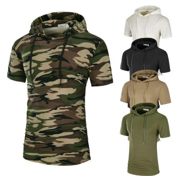 Hombres líneas largas camiseta de camuflaje sólido impreso para hombre de algodón camisetas de manga corta con capucha camiseta Homme High Street Wear